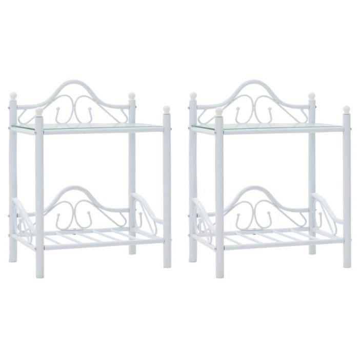 Table de nuit chevet commode armoire meuble chambre 2 pcs acier et verre trempé 45x30 5x60 cm blanc 1402032