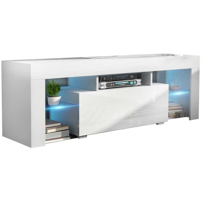 Meuble tv 130 cm blanc mat / blanc brillant + led rgb