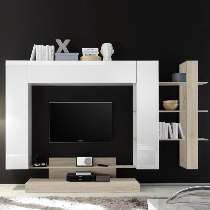 Grand meuble TV blanc laqué et couleur chêne clair BALBINA Blanc L 258 x P 42 x H 165 cm