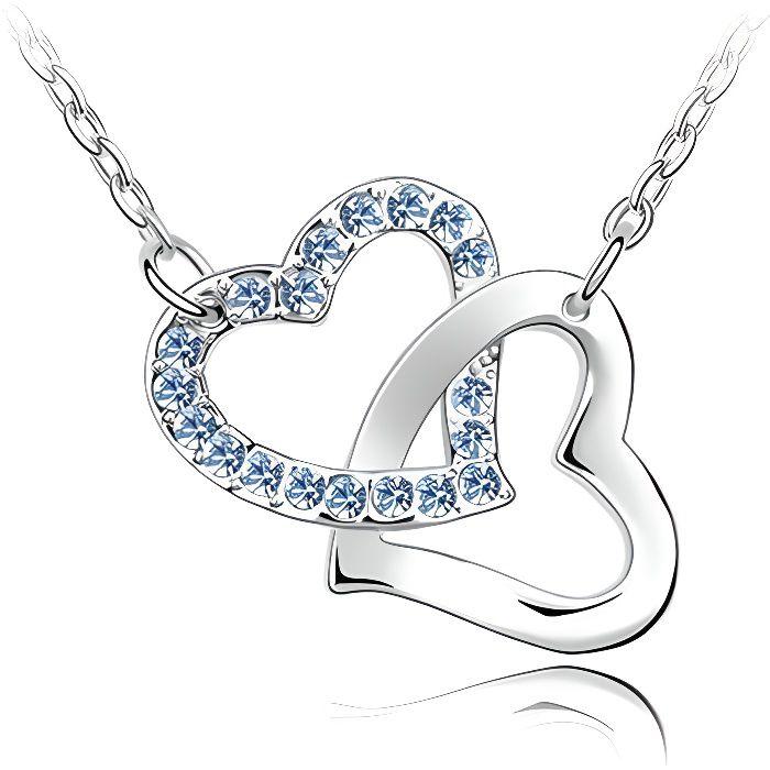 Collier Coeurs entrelacés Cristal Swarovski Element Bleus