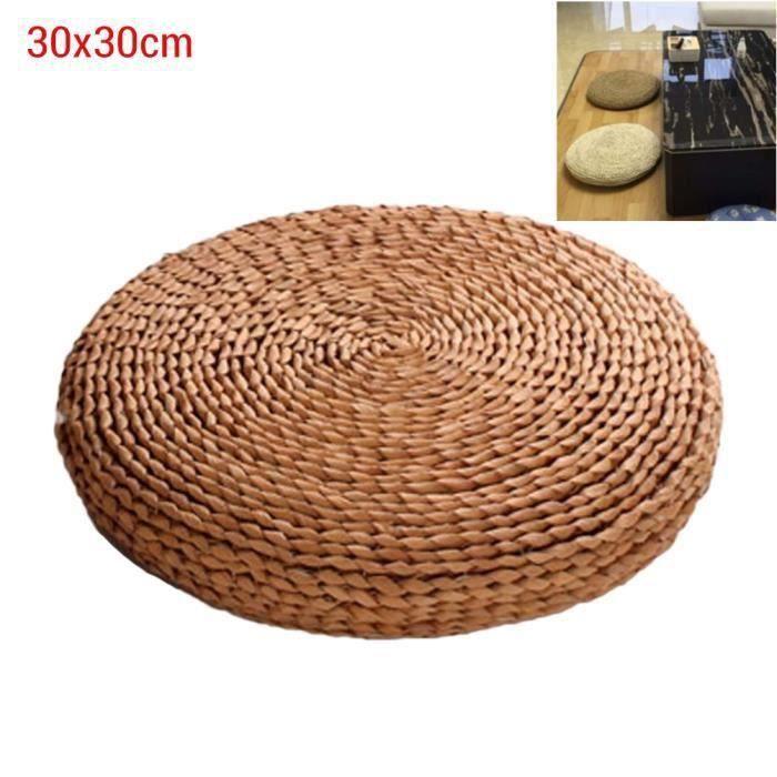 SURENHAP Coussin rond en paille de yoga méditation Tapis de sol rembourré en soie 30 * 30cm (herbe de pampa)