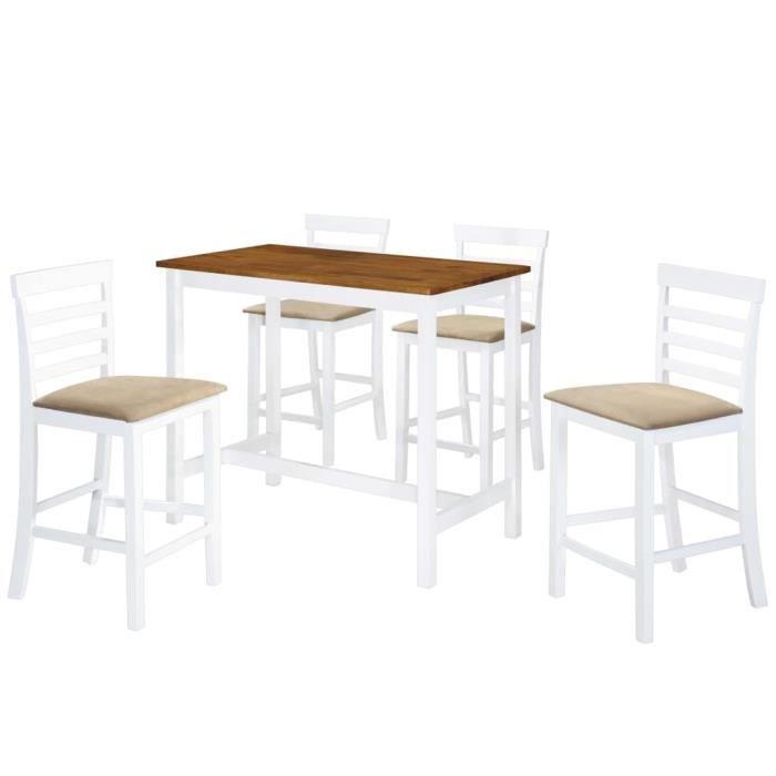 Table et chaises de bar 5 pcs Bois massif Marron et blanc
