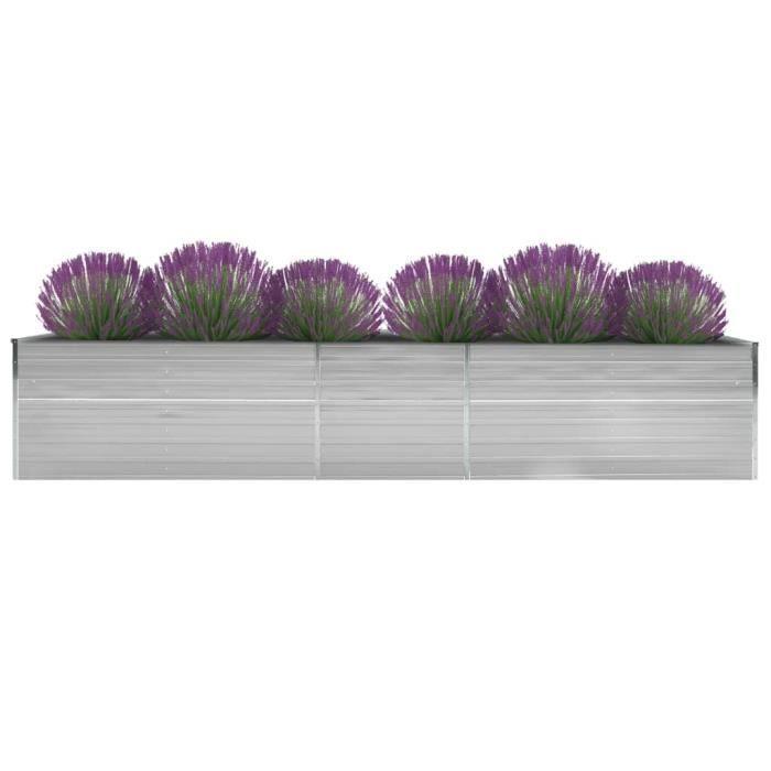 Bac A Fleur - Jardinière Acier galvanisé 400 x 80 x 45 cm Gris Haute qualité #14772