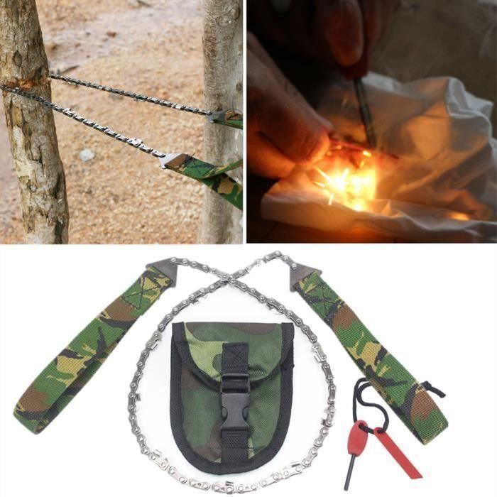 Fournitures de camping Chaîne de main portable outil scie fil Allume-feu Camping Randonnée d'urgence extérieure67386