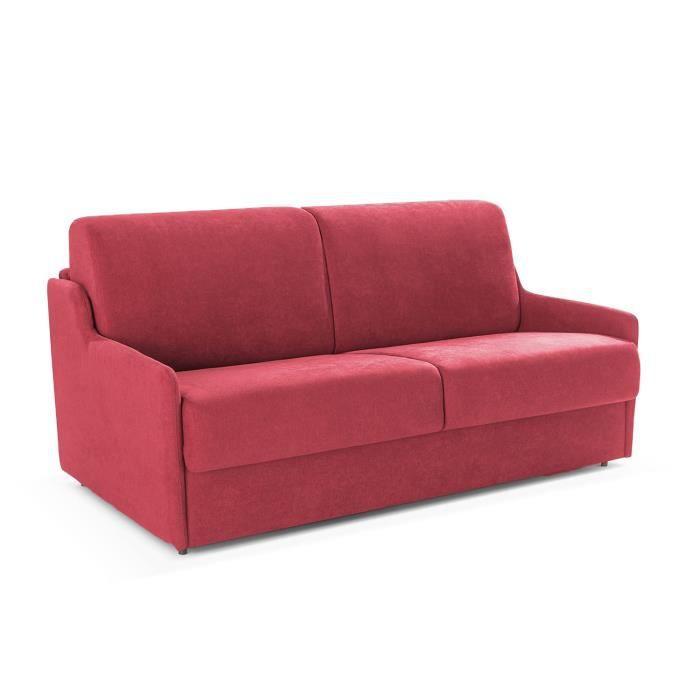 DUO Canapé Convertible Rapido Couchage 120 Matelas 13 Cm Microfibre Confort bordeaux 3 Places L150 x P95 x H87 Cm Rouge