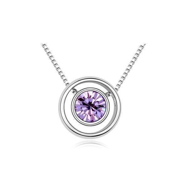 Collier Cercle et Cristal de Swarovski Element Violet