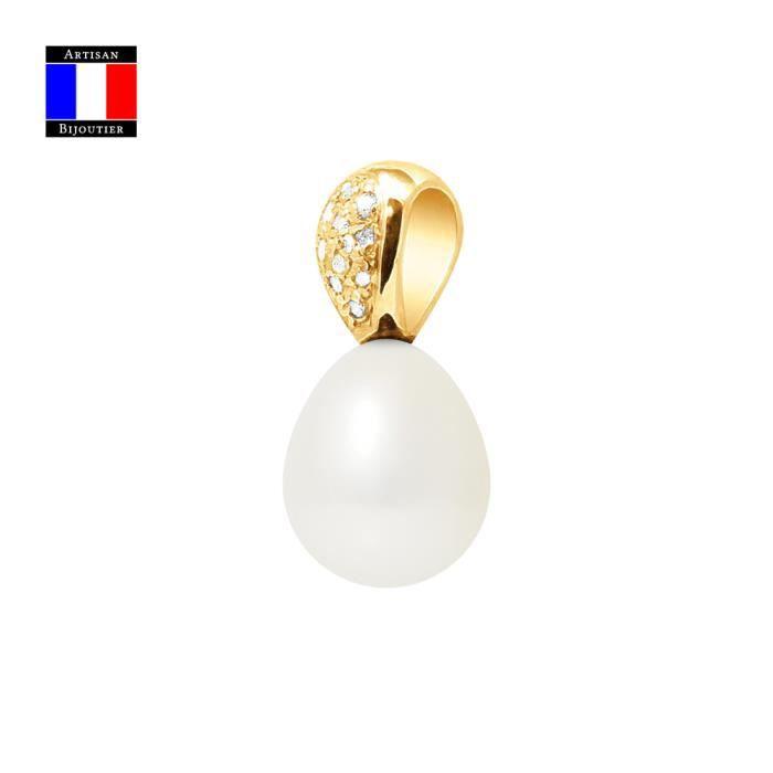 Compagnie Générale des Perles - Pendentif Diamants 0,10 Cts Véritable Perle de Culture 9-10 mm - Or Jaune 18 Carats - Bijou Femme