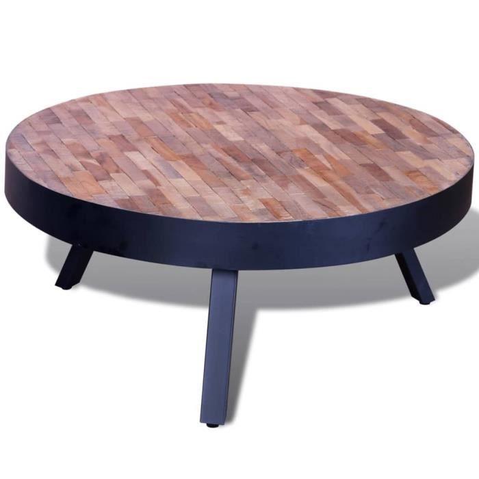 MILL - Table basse ronde Bois de teck recyclé