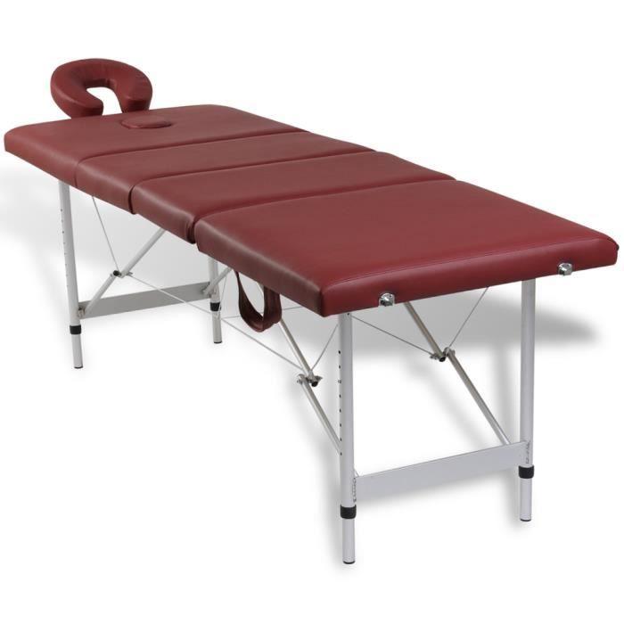 Table de Massage Pliante 4 Zones en mousse pour utilisations commerciales et domestiques Cadre en Aluminium Rouge