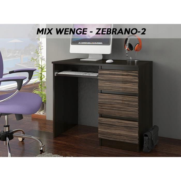YORK 2WR- Bureau moderne informatique d'ordinateur 96x50x76 - Support clavier-3 tiroirs - Wengé Zebrano