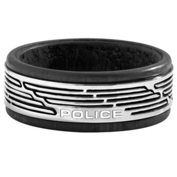 Bague homme POLICE JEWELS TAMUL PJ.26470RSS0110. Noir. Argent. Acier inoxydable. 62.