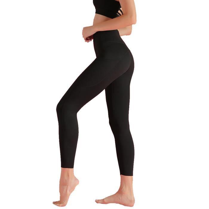 Femme LEGGING DE COMPRESSION Taille Haute avec 6 Poches,COLLANT DE COMPRESSION Naked Feeling,pour Fitness Jogging Noir