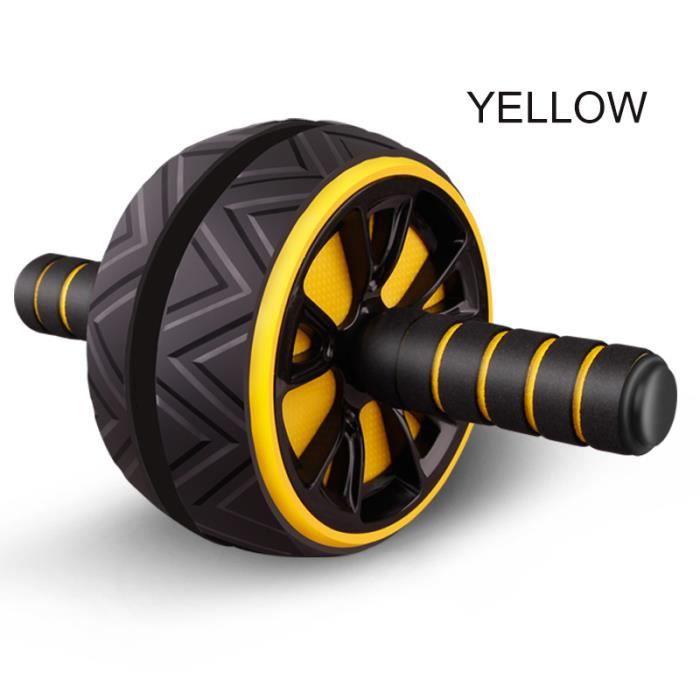 Rouleau d'entraînement des muscles abdominaux grande roue pour Fitness Abs Core Workout Abdominal Muscles Training Home Gym jaune