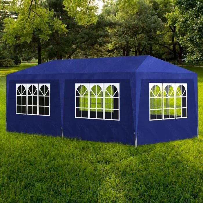 Tonnelle de jardin Tente de réception Pavillon de Jardin Chapiteau Bleu 3x6m