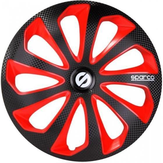 Sparco Enjoliveurs Sicilia 14 pouces ABS noir / rouge lot de 4