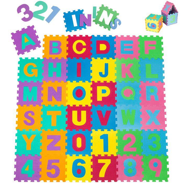 TECTAKE Tapis PUZZLE en Mousse pour Enfant 86 Pièces - 180 cm x 180 cm x 1 cm Multicolore