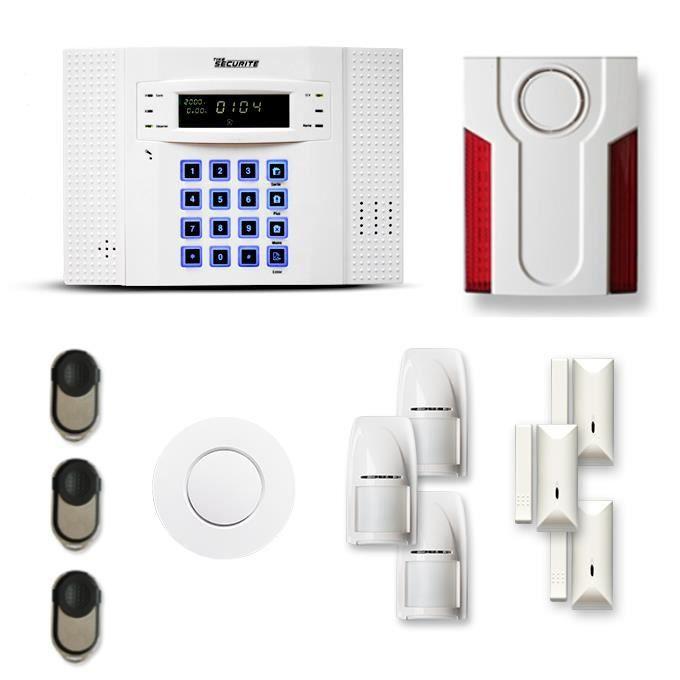 Alarme maison sans fil DNB 3 à 4 pièces mouvement + intrusion + détecteur de fumée + sirène extérieure - Compatible Box internet