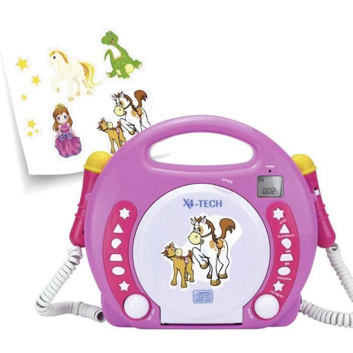 LECTEUR CD - RADIO - BOOMBOX - Lecteur CD enfants X4 Tech Bobby Joey CD, SD, USB avec microphone rose