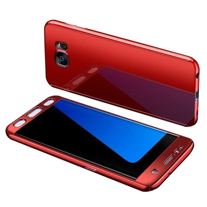 revêtement miroir PC Hard case+Film protecteur d'écran de verre trempé Cover Coque pour Samsung Galaxy S7 Edge -rouge