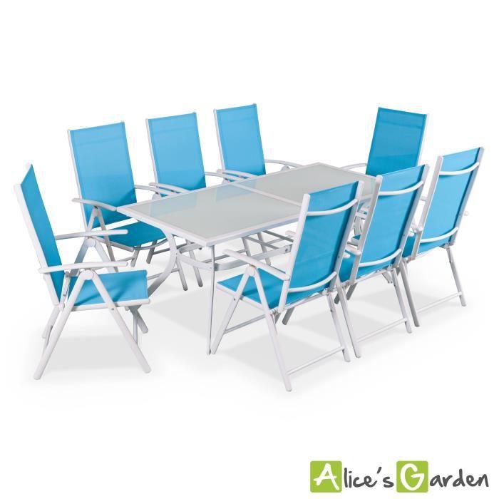 Naevia - Table de jardin 8 places alu/textilène - Achat ...