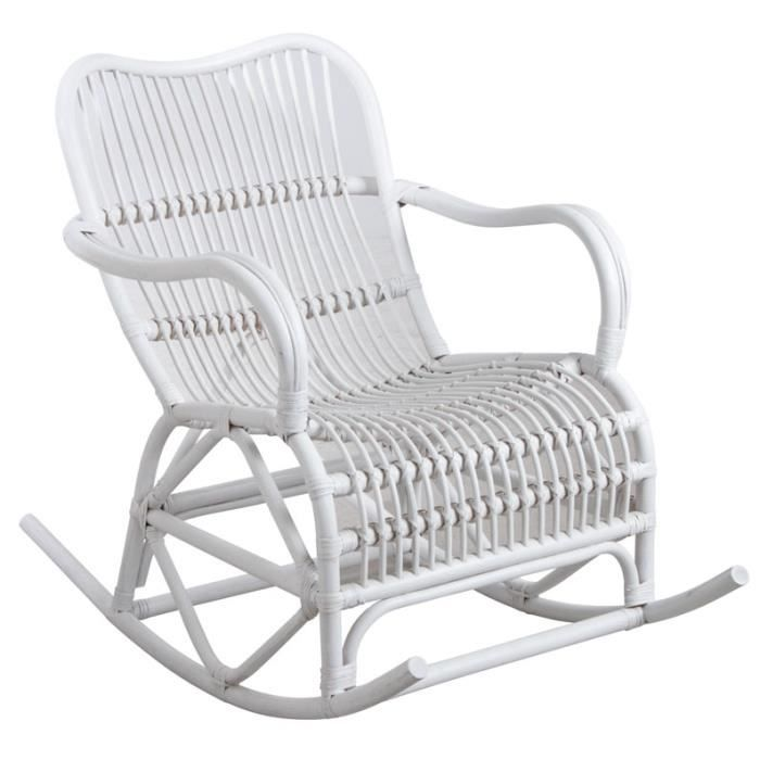 rocking chair en rotin blanc achat vente fauteuil cdiscount. Black Bedroom Furniture Sets. Home Design Ideas