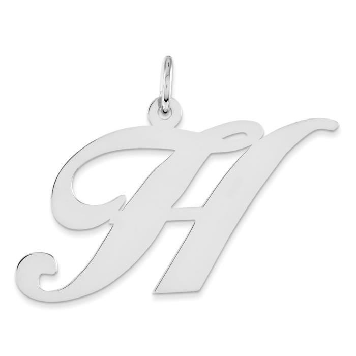 Grand Fancy argent Sterling Script-H initiale charme charmes