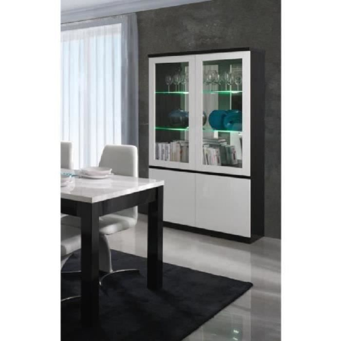 vitrine vaisselier argentier fabio noir et blanc brillant high gloss led meuble design pour. Black Bedroom Furniture Sets. Home Design Ideas