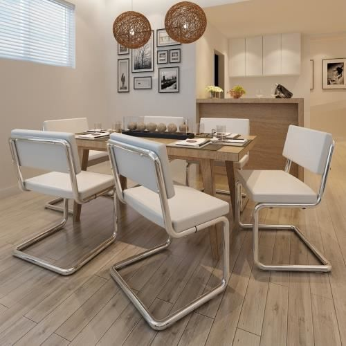 6 chaises de salon moderne simili cuir blanc achat for Chaise de salon moderne