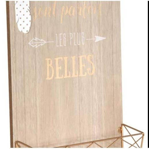 Porte Courrier Mural En Bois Citation Multicolore