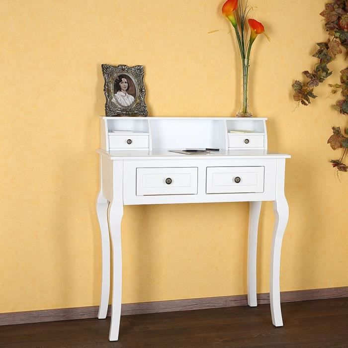 secr taire coiffeuse en bois blanc achat vente. Black Bedroom Furniture Sets. Home Design Ideas