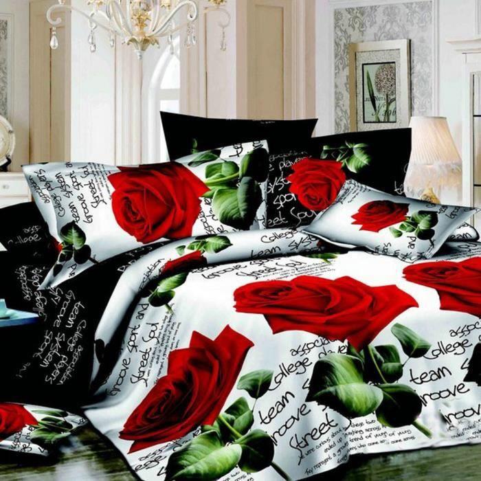 2 taies d/'oreiller Effet 3D 4pcs couvertures de couette avec drap literie set