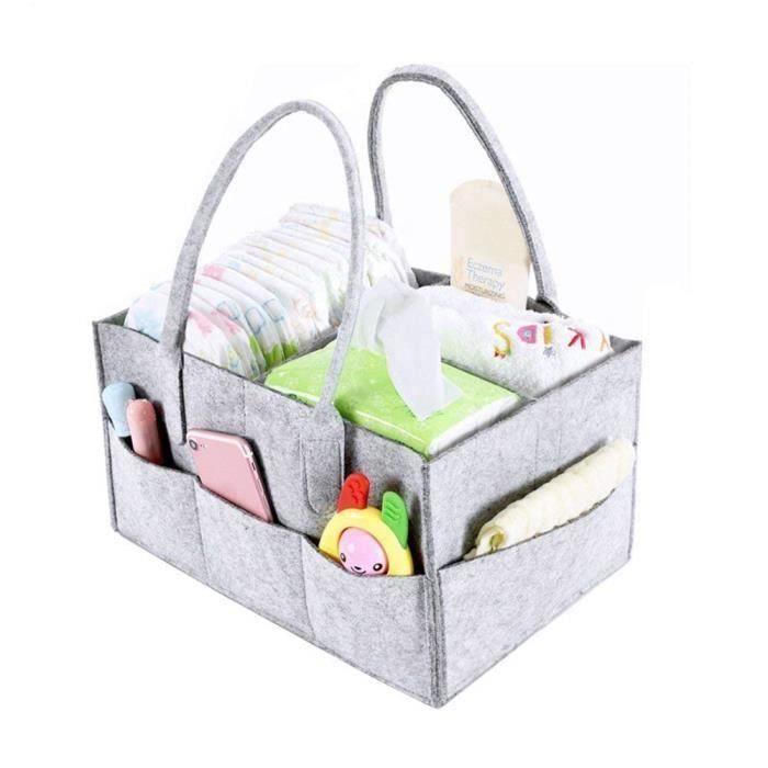 Organiseur de couches portable en feutre pour couches et jouets de b/éb/é sac de rangement pour maman nouveau-n/é et enfants