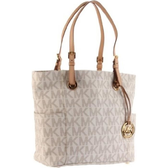 Michael Kors Logo Print Signature Tote Brown Pictures to pin on ...