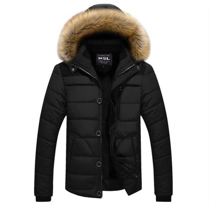 Homme Plus Épais Longue à Veste pour Capuche Hiver Cotton Noir Manches en Manteau Chaude M 6XL tQChsrd