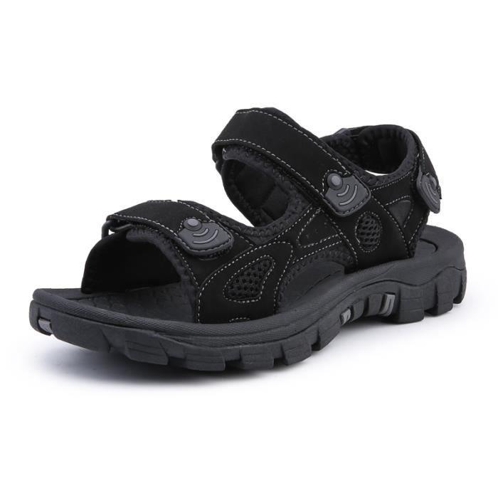 cuir 2019 Été Plage Sandales de Chaussures Homme Noir Homme 80wymNvOn