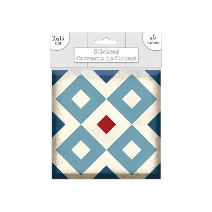 Stickers Carrelage 15X15 6 stickers carreaux de ciment losange - 15 x 15 cm - bleu - achat