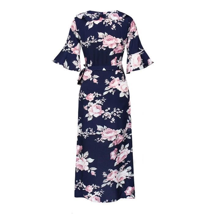 Womens Lover-beauty 3-4 Sleeve Chiffon Dresses V Neck Summer Floral Print Maxi Dress 2AMKPE Taille-34