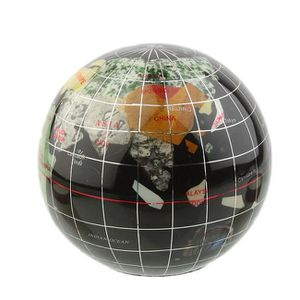 presse papier globe terrestre noir pierres semi. Black Bedroom Furniture Sets. Home Design Ideas