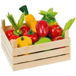 DINETTE - CUISINE Cagette de 10 fruits et légumes en bois Goki