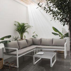 Salon bas de jardin aluminium gris - Achat / Vente Salon bas ...