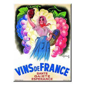 AFFICHE - POSTER Carte Métal Rétro 'Vins de France'