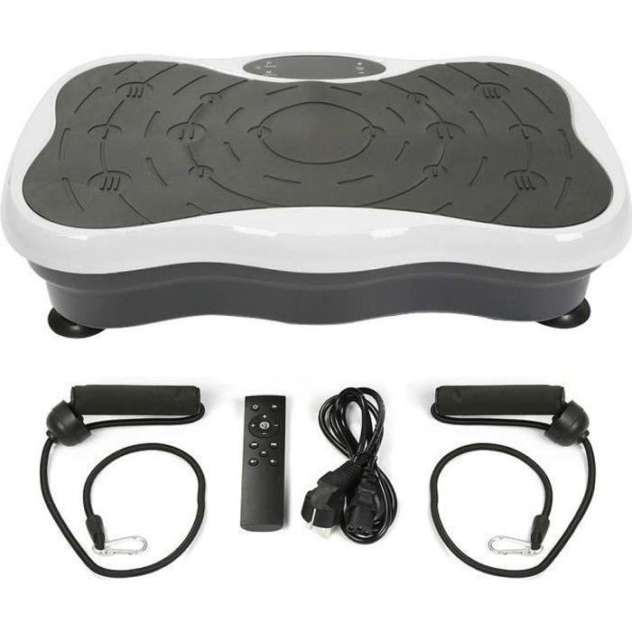 Plateforme Vibrante et Oscillante avec Audio Bluetooth USB LCD Appareil d'Entraînement à Fitness noir/blanc
