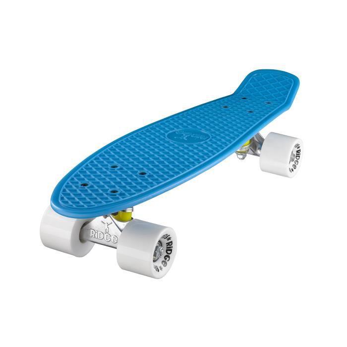 """Planche à Roulettes Mini Cruiser Originale Complète 55cm 22"""" Ridge Skateboards BLEU- BLANC"""