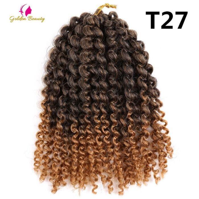 T1B - 27 une pièce Golden Beauty Marley Curly Crochet Tresses Cheveux Ombre Synthétique Crépus Twink Tressage Extensions De Cheveux