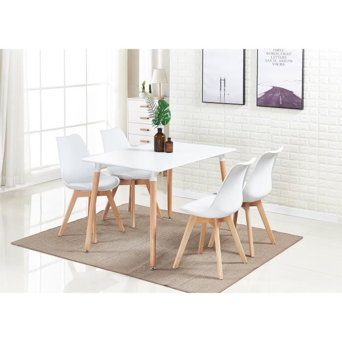 Ensemble Salle à Manger Moderne Lorenzo - Table Blanche + 4 Chaises Blanches - Design Scandinave