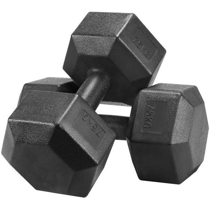 Yaheetech Lot de 2 Haltères Hexagonale Chaque 7,5 kg Paire d'haltères Dumbbell Musculation Fitness Homme et Femme en Fer et PVC Noir