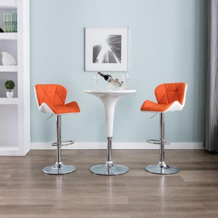 Tabouret de bar Chaise de bar Orange - Contemporain - Similicuir - L 44 x P 48 cm x H 84,5-105,5 cm