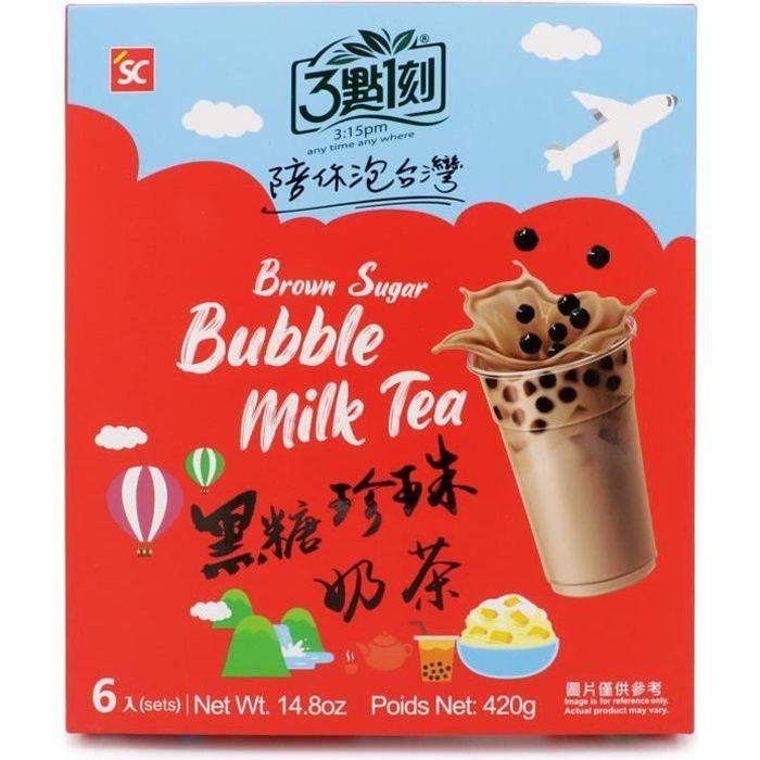 Bubble Tea 6 Kits - Thé au Lait au Sucre Brun aux Perles de Tapioca - Boisson de Taiwan Authentique -Preparation Rapide -SANS paille
