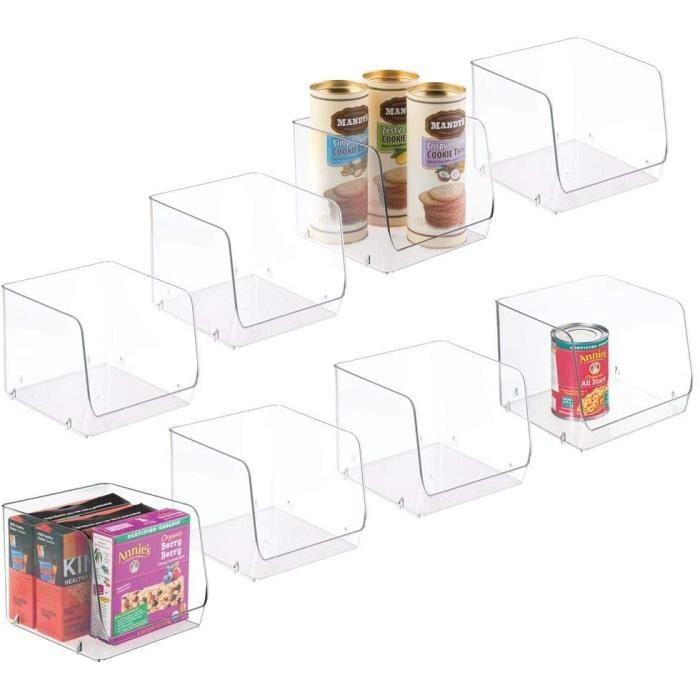 mDesign Boite de Rangement pour Le frigo ou Le Garde-Manger (Lot de 8) – Boite empilable pour la Cuisine – Grand bac en Plastique po