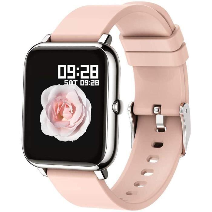 Popglory Montre connectée Smartwatch Cadiofréquencemètre Moniteur de Sommeil Pression Artérielle Compatible Android iOS Montre Intel